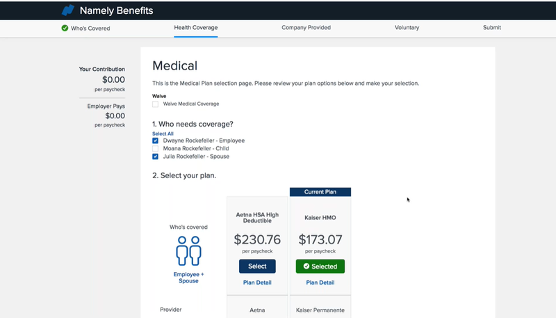 Screenshot of Namely Benefit Contribution