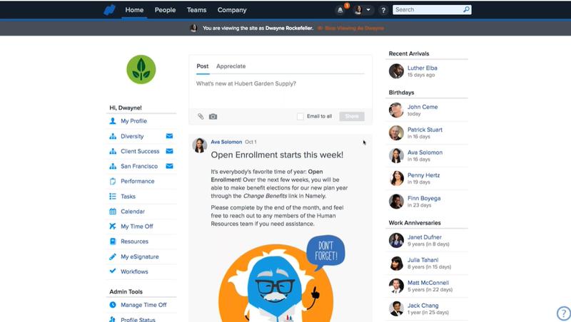 Screenshot of Namely's Employee Dashboard