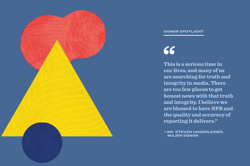A page from NPR's 2019 annual report showing a donor quote and abstract graphics.