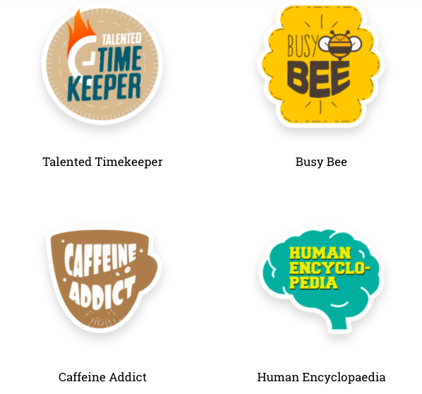 Zoho People badges such as Busy Bee and Caffeine Addict to jump-start employee appreciation.