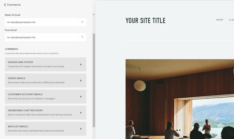 Screenshot of Squarespace Site Builder