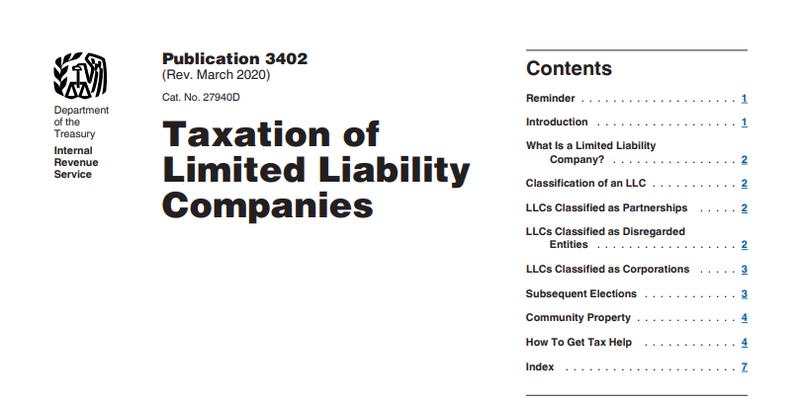 IRS Publication 3402, Taxation of LLCs.