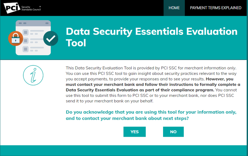Screenshot of the opening page of the PCI Council's Data Security Essentials Evaluation Tool.