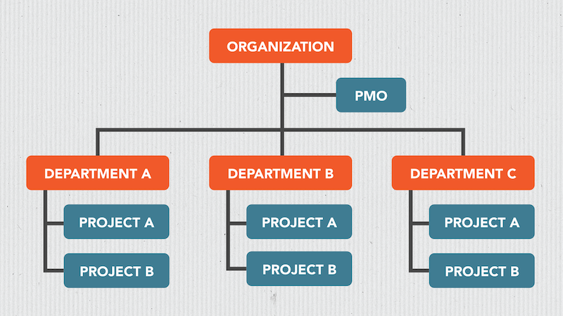A flowchart showing an organizational structure with a PMO.
