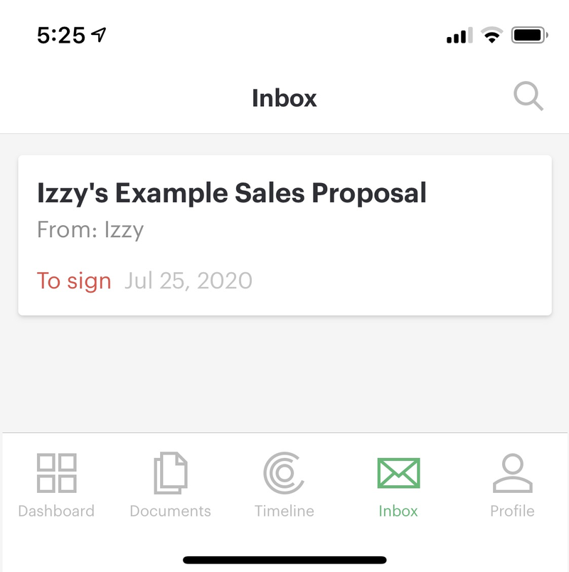 The PandaDoc mobile app shows documents awaiting your review in an inbox along with a menu of other options such as viewing a dashboard and a timeline.