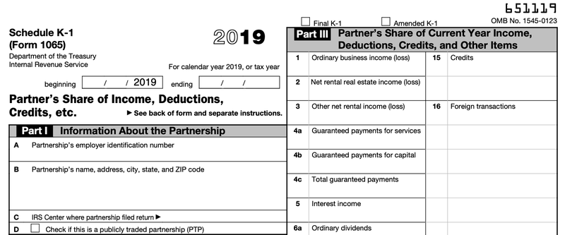 The top half of Schedule K-1 for Form 1065.
