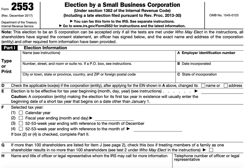 IRS Form 2553, the tax form to turn a business into an S corporation