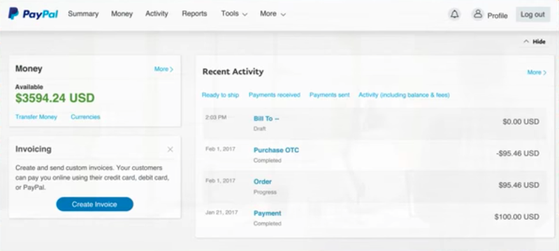 Screenshot of PayPal Here's home dashboard for business accounts.