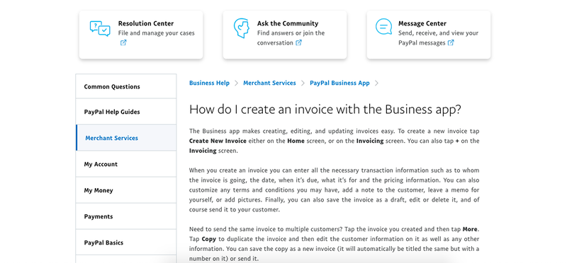 A screenshot of PayPal Here's support center for troubleshooting and questions.