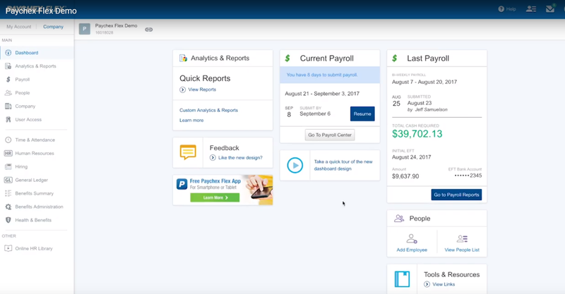 Paychex Flex sample dashboard with cards for analytics and reports, feedback, current payroll, last payroll, and people