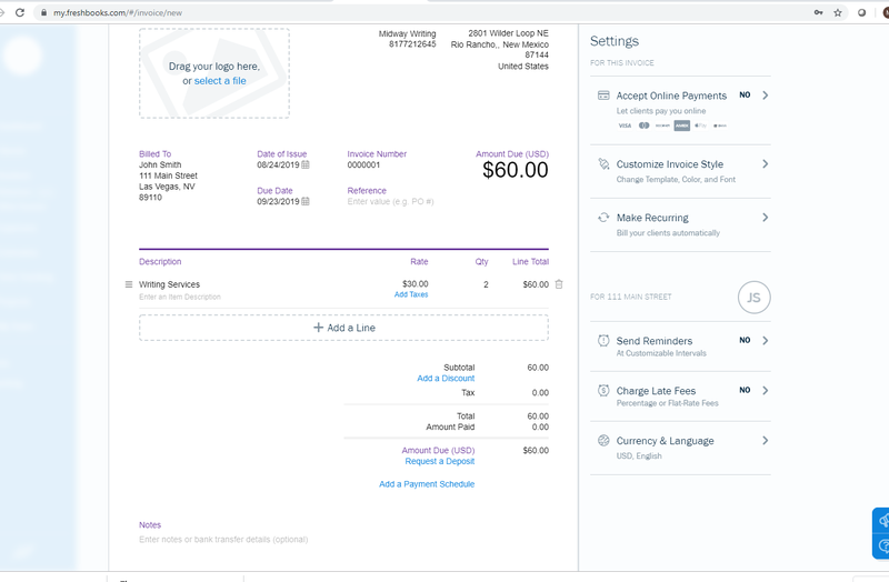 Sample invoice from FreshBooks.