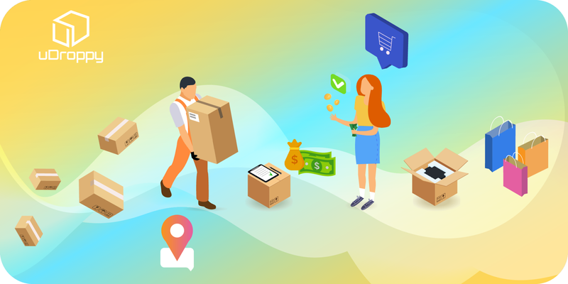 Illustration of man carrying a box and woman holding out dollar bills.