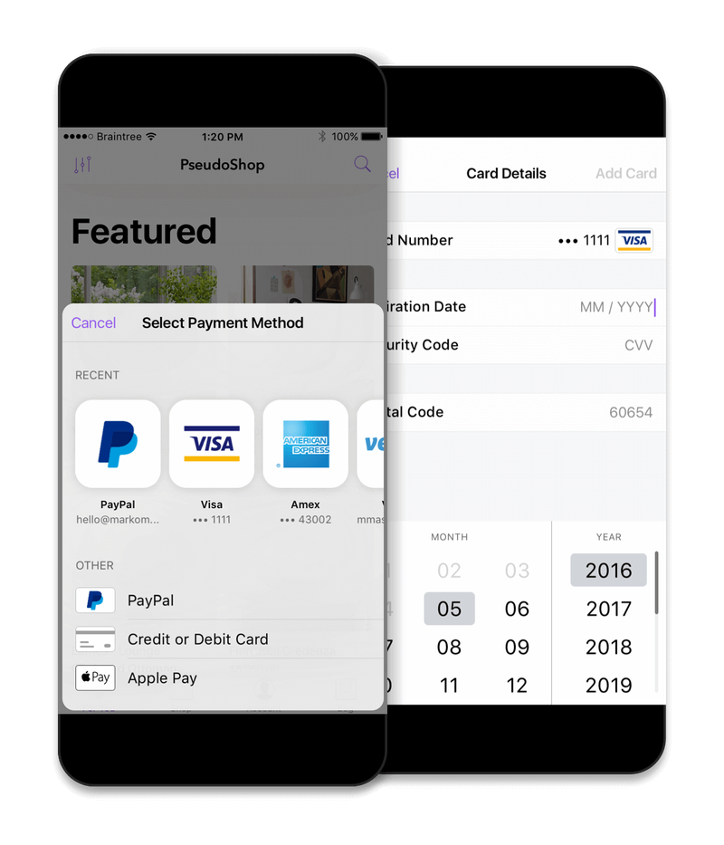 The Braintree payment gateway shown on two phone screens.