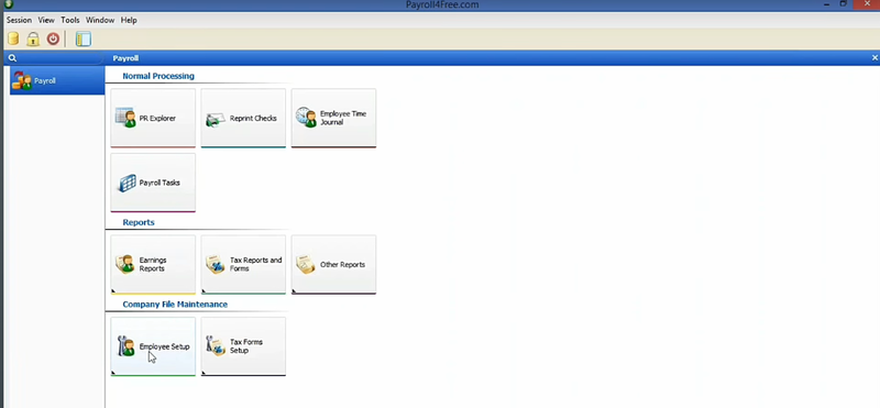Payroll4Free's navigation screen with normal processing, reports, and company file maintenance options