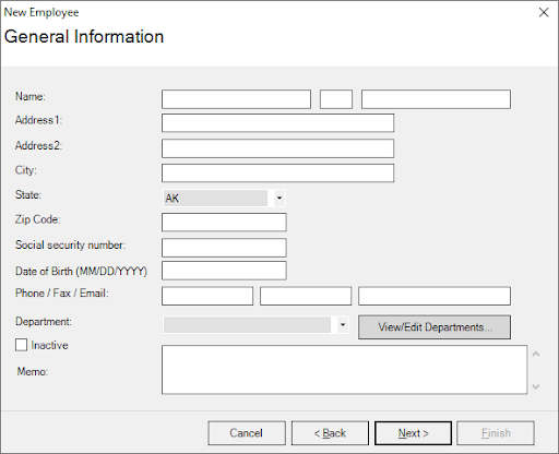 Payroll Mate employee set up form with fields for name, address, social security number, and more.