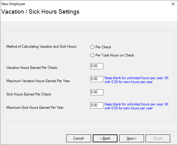 Payroll Mate vacation and sick hours feature with section to fill out how employees earn hours.