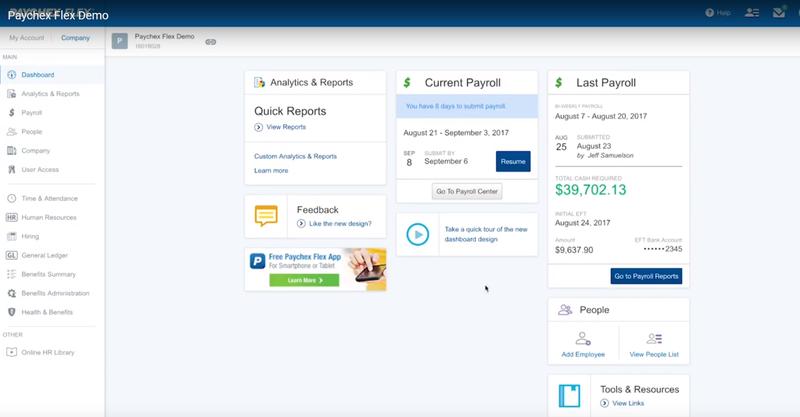 Paychex Flex's Payroll Analytics and Reports menu