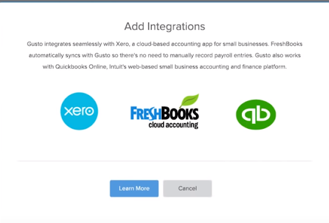 Gusto screen showing accounting software integration options.