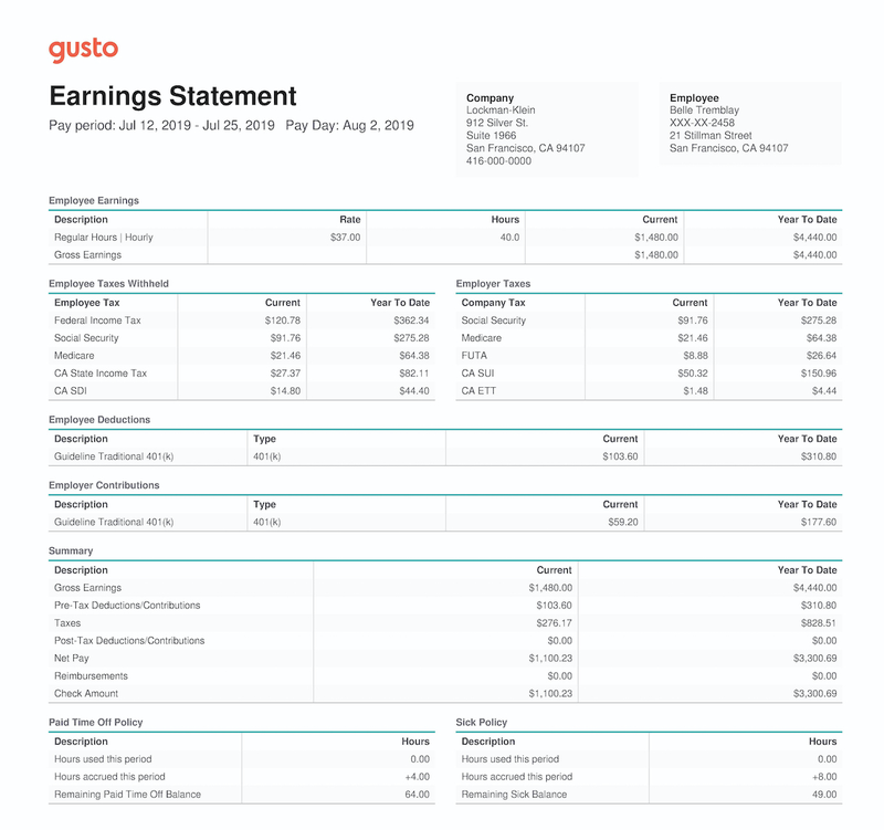 An earnings statement showing an employee's earnings and payroll taxes.