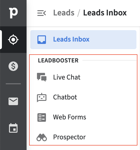 The four LeadBooster tools are listed in the Pipedrive Leads Inbox menu.