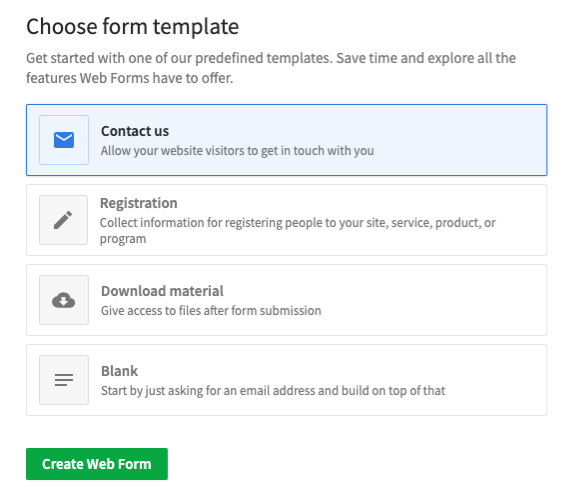 The four Web Forms template options are displayed in a list.