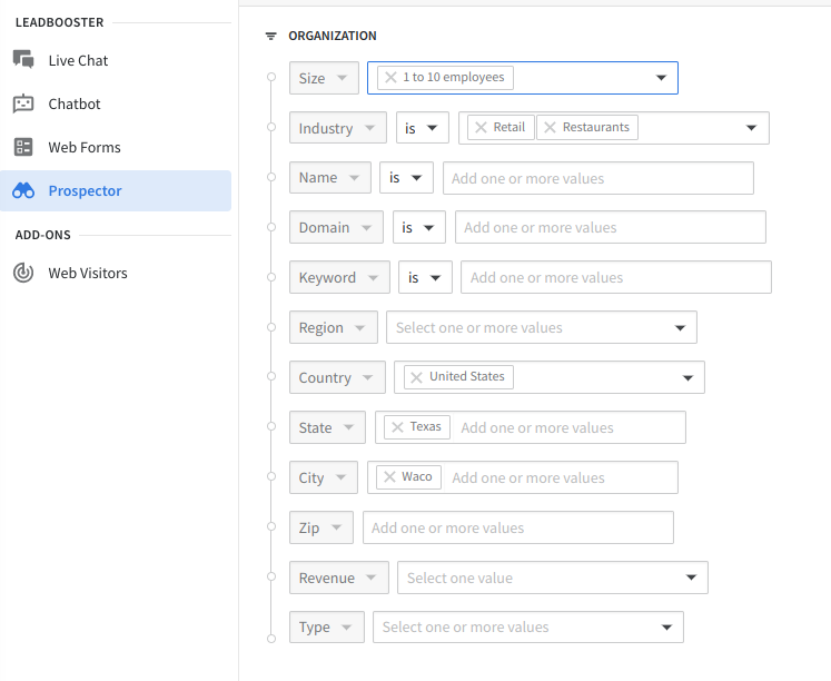 The Pipedrive Prospector search form contains multiple options.