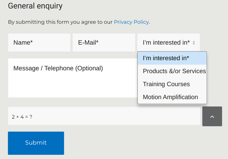 This online contact form asks for contact information and topic of interest.