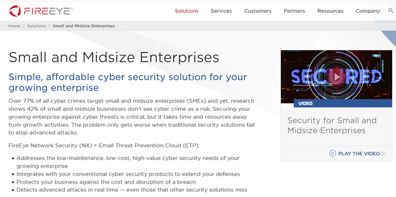 Screenshot of FireEye's website showing it's positioning statement focusing on cyber security for small to mid-sized businesses.