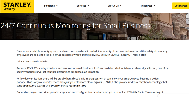 Screenshot of Stanley Security IT security page with copy discussing the small business advantages of its services.