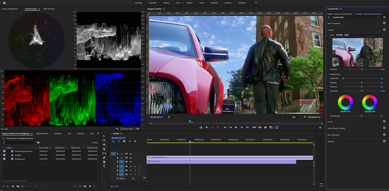 A screenshot of the Color workspace with Lumetri panel.