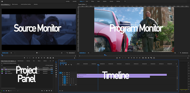 A screenshot of the Premiere Pro interface with quadrants labeled Source Monitor, Program Monitor, Project Panel, and Timeline.