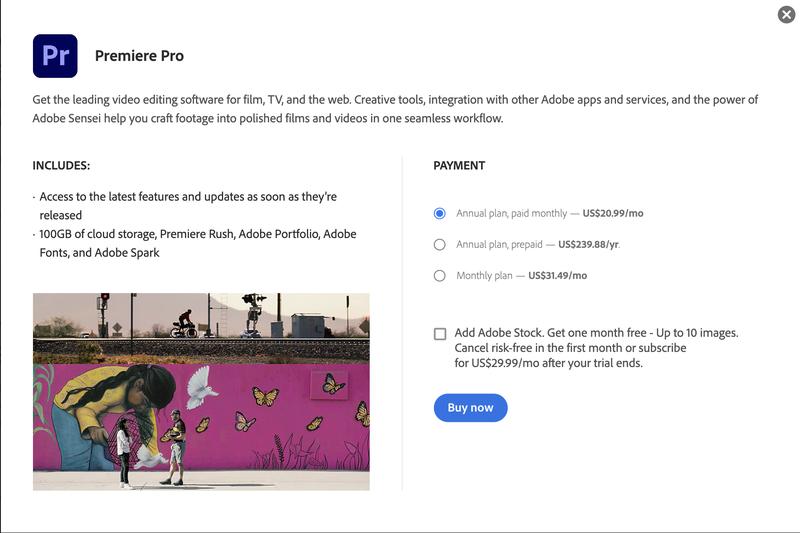Premiere Pro's pricing web page.