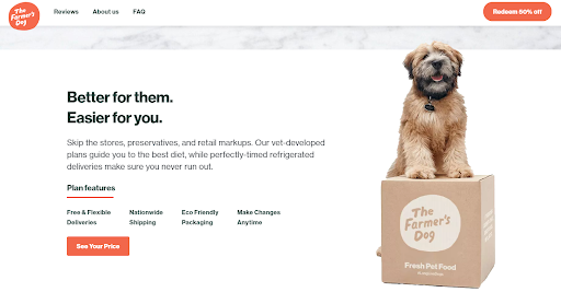 Screenshot of the home page of The Farmer's Dog website.
