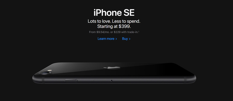 Screenshot of Apple's home page advertising the iPhone SE