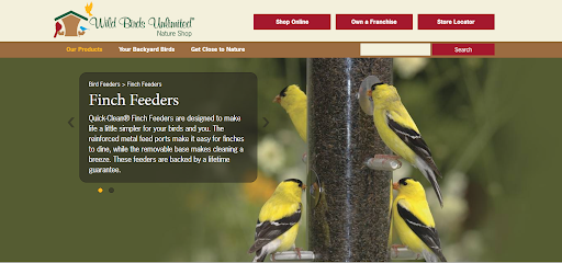 Screenshot of Finch Feeders page from the Wild Birds Unlimited website.