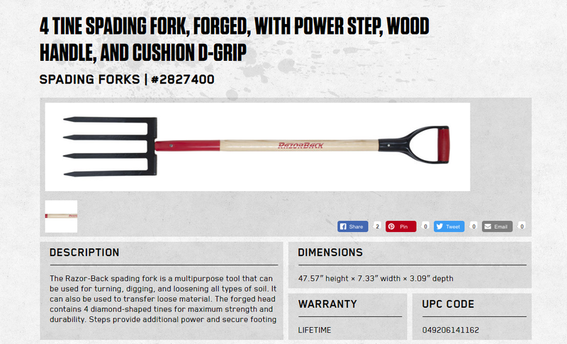 Screenshot of a spading fork product page from the Razor-Back Tools website.