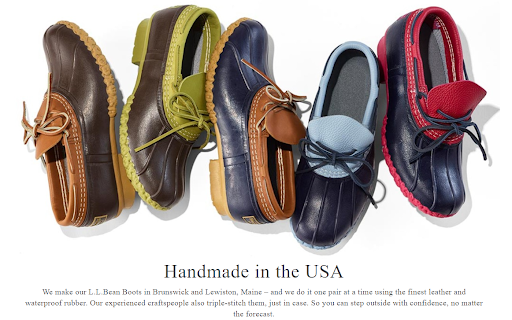 Screenshot of L.L. Bean's Boots page