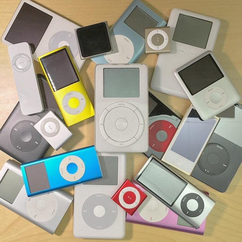 iPod design models over the years in different colors and styles.