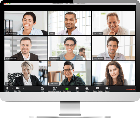 A Zoom meeting with nine participants is displayed on a computer monitor.