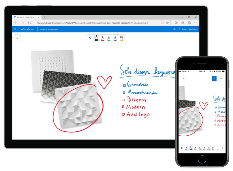 Microsoft's Whiteboard interface is displayed on a desktop computer and a smartphone.