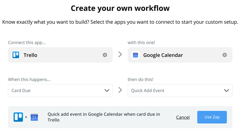 In this zap, when a task is assigned a due date in Trello, it creates a corresponding Google Calendar event.