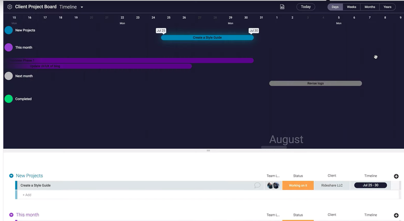 monday.com screen showing timeline gantt chart with different colors to represent project phases