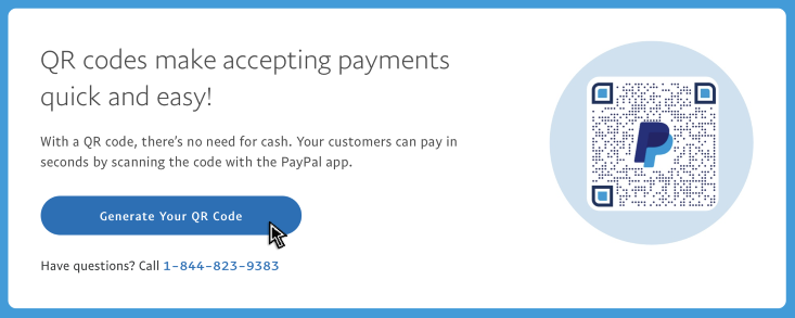 Click a button to create a PayPal QR code for payments.