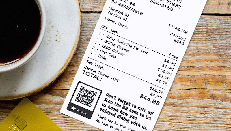 The bottom of a sales receipt has a QR code linking to a survey.