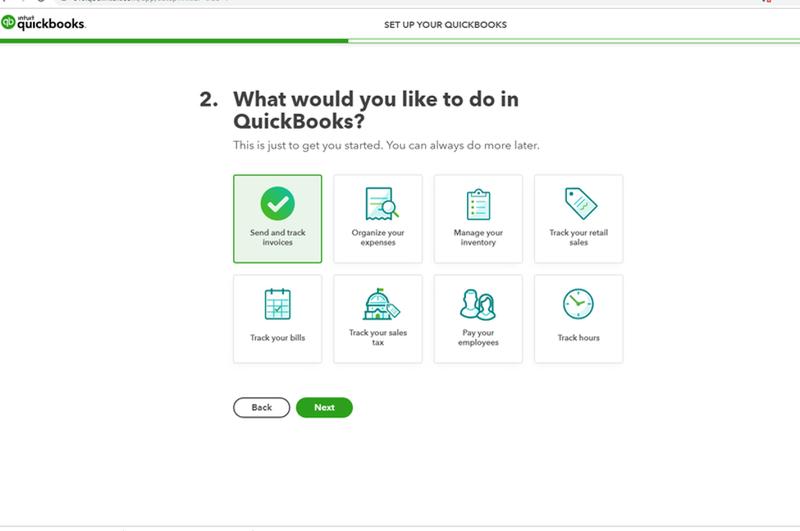 The setup screen for QuickBooks Online.