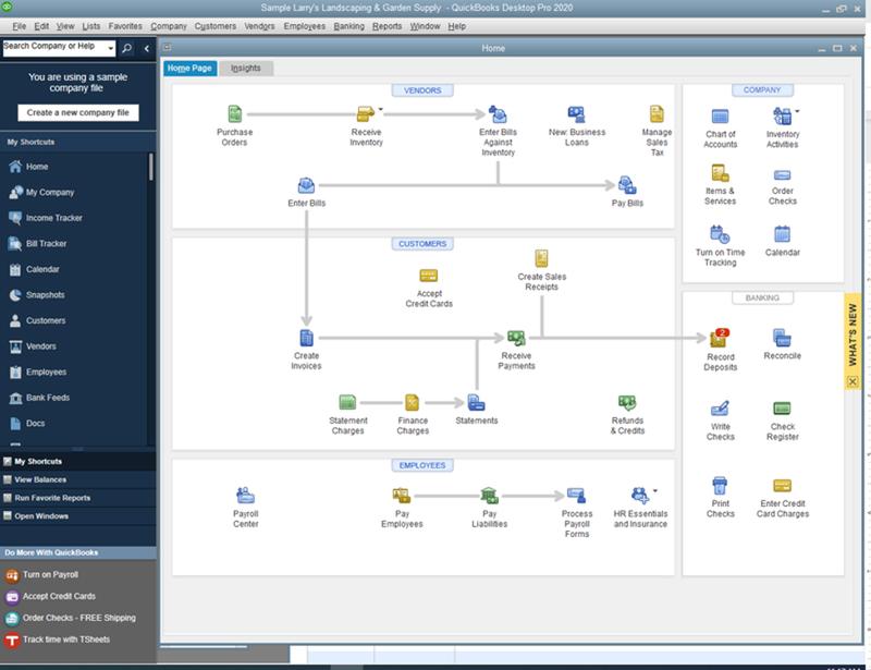 The QuickBooks Desktop interface with flowchart style menu.