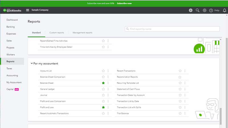 The QuickBooks Online Reports area of the software.