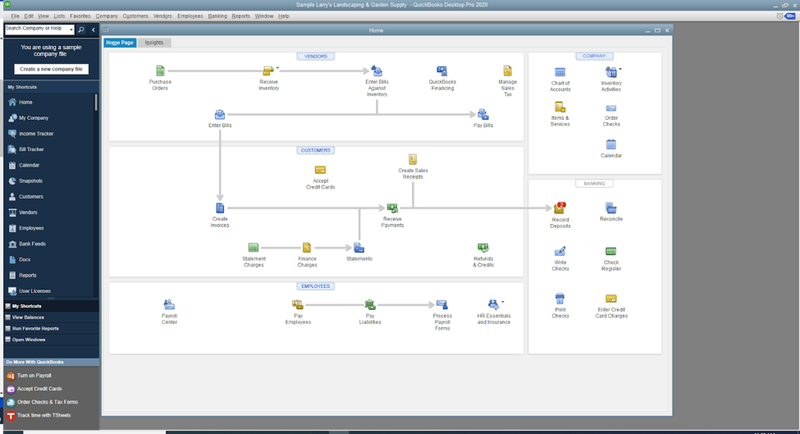 QuickBooks Pro interface showing a workflow of different connected accounts and entries.