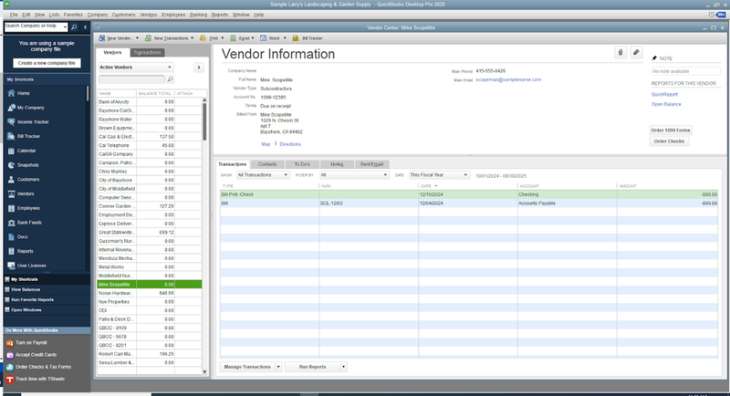 QuickBooks Pro vendor management tool with list of vendors on the left-hand side and the details of selected event on the right.