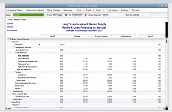 QuickBooks Premier forecasting screen listing past and expected income and expenses.